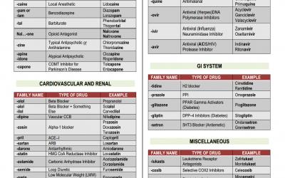 NCLEX Pharmacology Cheat Sheet – Common Drug Family Name